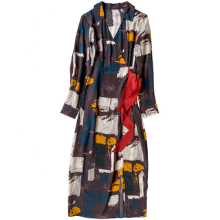Digital Print Silk Wrap Maxi Dress with Split