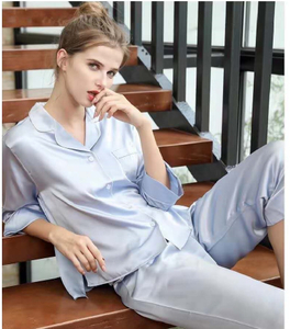 Personalised Long Sleeve Silk Silver Pajamas Set