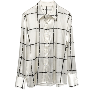 Printed Silk Charmeuse Long Sleeve Silk Button Down Blouse