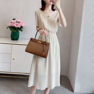 Short Sleeve Silk Jacquard Long Dress in White