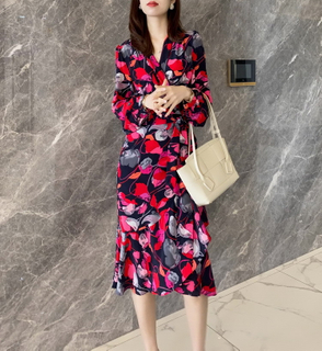 Floral Print Mulberry Silk Designer Dresses with Belt for Girls