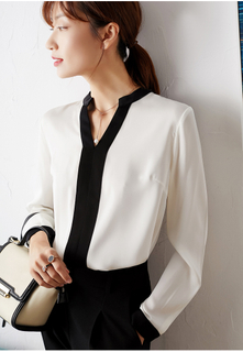 Pure Silk Black And White Woman Blouses with Long Sleeves