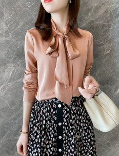 Pink Silk Long Sleeve Blouse Uk
