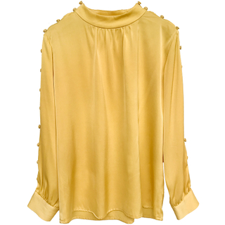 Summer Long Sleeve Plain Silk Satin Blouse