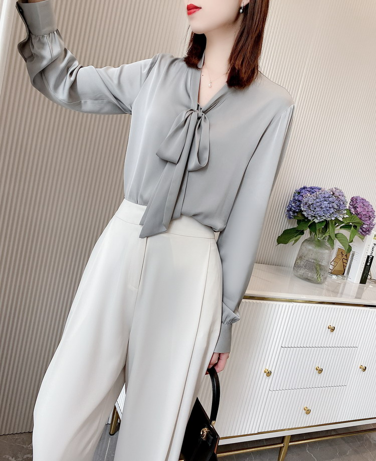 Washable Silk Grey Tie Blouse for woman