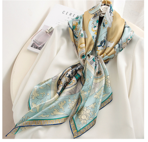 Large square silk printed floral scarf for women