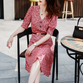 Silk Printed Elegant Dress with Puff Sleeves for Ladies