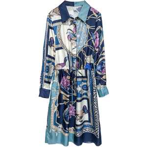 Placement Digital Print Silk Formal Long Sleeve Dress
