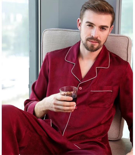 Mens Long Sleeve Silk Silk Night Suit Pajamas in Red